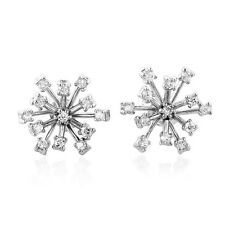 Simulated Cubic Zirconia Snowflake Earrings In Sterling Silver