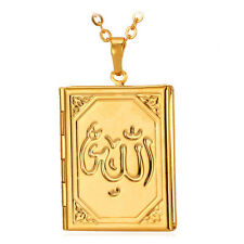 Vintage Muslim Allah Photo Locket Pendants Floating Charms 18K Gold GP Necklace