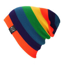Chic Striped Men Women Knitting Slouchy Beanie Cap Baggy Winter Hat Oversize