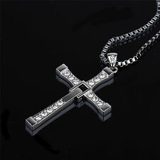 The Fast and The Furious Dominic Toretto's Cross Pendant Men's Necklace Gift 26""