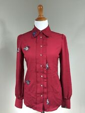 NWT ModCloth Nishe Blouse With Butterfly Embroidery Red UK Size 8 Read More