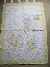 """Vintage HAND STITCHED BABY QUILT, DUCKS, 54"""" X 38"""", SO CUTE!!"""