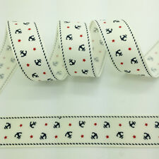 "Hot~5 yds 1"" 25mm White Printed Anchor Grosgrain Ribbon Hair Bow DIY Sewing #A02"