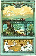 CARTOLINA MILITARE ILLUSTRATA - REGGIMENTO FERROVIERI DEL GENIO - 1920