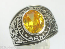 925 Silver United States Army Military November Yellow CZ Stone Men Ring Size 10