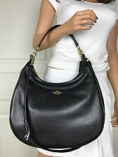 COACH SEXY BLACK PEBBLED LEATHER HOBO SHOULDER BAG TOTE CROSSBODY HANDBAG PURSE