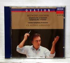 CLAUDIO ABBADO - MENDELSSOHN symphonies nos.3 & 4 DECCA CD full silver NM