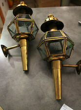 PAIR OF SPLENDID ANTIQUE BRASS HACKNEY CAB SCONCES LANTERN