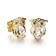 18K gold plated Earring  owl AAA Cubic Zirconia Womens G225