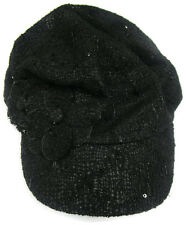 Nine West Cap Hat Lace Worker With Flower Black Women's One Size NWT $32.00