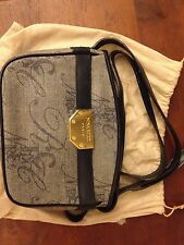 Vintage Nina Ricci handbag in leather and cloth - great condition