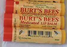3 x BURT'S BEES MEDICATED LIP BALM * w/ CLOVE OIL * DISCONTINUED NEW SAFETY SEAL