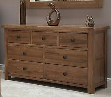 Brooklyn solid oak bedroom furniture large wide multi chest of drawers