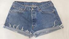 LEVI VINTAGE HIGH WAISTED DENIM SHORTS SIZE 12/14 FRAYED MID BLUE 501s