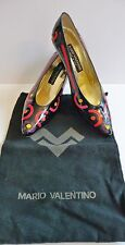 Mario Valentino New Vintage Black Patent Colorful Heels Size 39B /9 Retail $595.