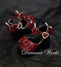 1/4 SD/BJD Doll High Quality Bowknot High-Heeled Shoes Dark Red Doll Accessory
