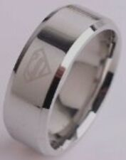 "DC COMICS SUPERMAN ""S"" ETCHED LOGO Stainless Steel BAND RING SIZE 10"
