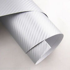 Silver 3D Carbon Fiber Auto Interior Ornament Vinyl Film Sheet Sticker Universal