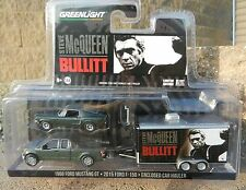 1:64 GreenLight *BULLITT McQueen HITCH & TOW* Mustang F150 Pickup & Trailer NIP!