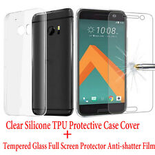 Clear Protective Case Cover+Tempered Glass Full Screen Protector Film for HTC 10