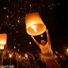 20X White Chinese Paper Sky Flying Wishing Lantern Lamp Candle Party Wedding HOT