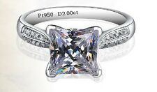 2.5Ct Princess Cut Diamond Solitaire Engagement Ring, Platinum Hallmarked
