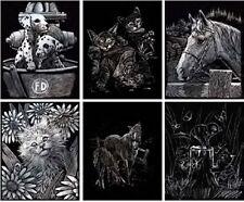 Kratzbild Kratzbilder Geschenkset 6er Set Tiere Pferde Katze Hund 20 cm x 25 cm