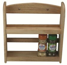 Natural Solid Wood 2 Tier Spice Herb Jar Bottle Rack Stand for Kitchen Worktop