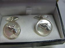 gemelli madreperla profilo di cavallo  in argento 925 lavorazione artigianale