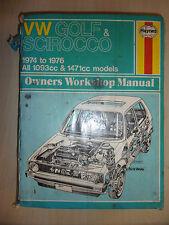 VW GOLF & SCIROCCO MK1 MKI HAYNES WORKSHOP MANUAL 1093cc & 1471cc 1974-1976