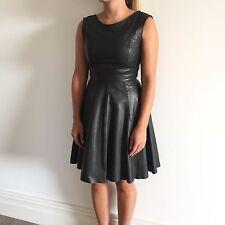 Gestuz Black Leather Skater Dress UK Size 8-10 / EUR Size 34