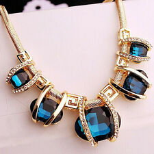 Chic Fashion New Crystal Pendant Chain Choker Chunky Statement Bib Blue Necklace