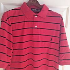 POLO RALPH LAUREN MENS S/S SOFT TOUCH COTTON STRIPED POLO SHIRT RED 4XLB BIG 4X