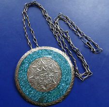 Esmalte Azul Turquesa Vintage Plata Colgante Collar colgante con broche de máscara de México C872