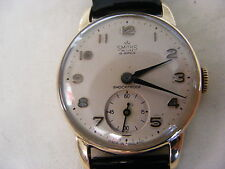 RARE 1950s 9k GOLD SMITHS DE LUXE GENTS WATCH 15 JEWELS NEEDS MAINSPRING