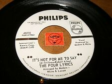 THE FOUR LYRICS - IT'S NOT FOR ME TO SAY - YESTERDAY   / LISTEN - TEEN POPCORN