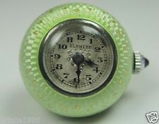 Edwardian Guilloche Green Enamel Elsmere Silver Ball Pocket Watch 15 Jewels Fine