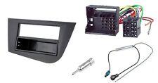 Einbaurahmen 1DIN + ISO Adapter + Antenneadapter SEAT LEON Radioblende Schwarz