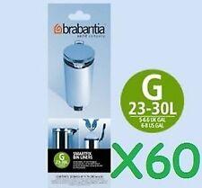 60 - 3 rolls Genuine Brabantia Type G 30L 30 Litre Bin Liner Bags
