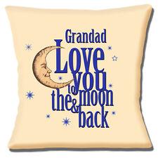 """""""LOVE YOU to the Moon E Indietro Grandad 'Crema Blu Scuro 16"""" CUSCINO COVER"""