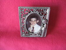BOY'S FIRST HOLY COMMUNION FILIGREE PEWTER PICTURE FRAME