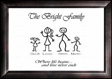 Personalised STICK Family Tree Picture Art Mum Dad Nan Grandad Birthday Gift