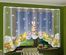 "Amazing Easter Net Curtain with Easter Bunny Chicks & Eggs 300 x 150cm 118""x 59"""