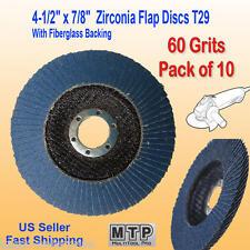 "10 Pack 4.5"" x 7/8"" 60  Grit Zirconia Flap Disc Grinding Sanding  Wheels T29 #60"
