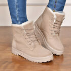 Womens Winter Snow Fur Lined Lace Up Flat High Ankle Boots Round Toe Shoes Warm