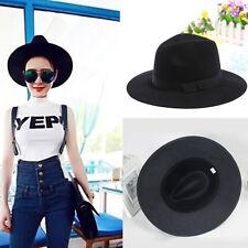 Fashion Black Ribbon Wide Brim Floppy Bowler Fedora Caps Women Woolen Felt Hat