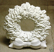 Ceramic Bisque Holly Wreath Bow Lighted Tampa Bay 196 U-Paint Ready To Paint