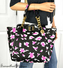NWT JUICY COUTURE FUCHSIA BLACK LEOPARD LEATHER TOTE SHOULDER BAG PURSE HANDBAG