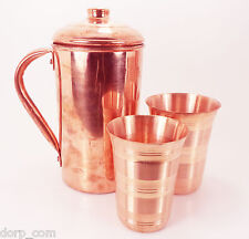 Lot Of Copper 1 Pitcher Jug & 2 Glasses Set For storing Drinking Water Ayurveda
