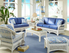 Regatta Indoor White Wicker and Rattan 5 Pc. Living Room Set from Spice Island